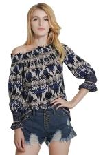Womens Elastic Off Shoulder Retro Printed Long Sleeve Blouse Blue