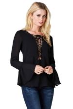 Womens Lace-up Ruffled Long Sleeve Plain Blouse Black