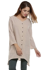 Womens Plain Single-breasted Long Sleeve Pockets Blouse Apricot