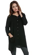 Womens Plain Single-breasted Long Sleeve Pockets Blouse Black