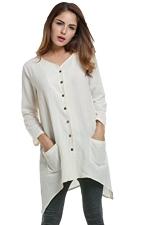 Womens Plain Single-breasted Long Sleeve Pockets Blouse White