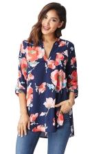 Womens V-neck Side Slit Floral Printed Long Sleeve Blouse Blue