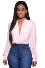 Womens Plunging Neck Open Sleeve Plain Blouse Pink