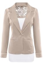Womens Lace Embroidered One Button Long Sleeve Plain Blazer Khaki