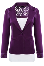 Womens Lace Embroidered One Button Long Sleeve Plain Blazer Purple