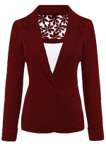 Womens Lace Embroidered One Button Long Sleeve Plain Blazer Ruby