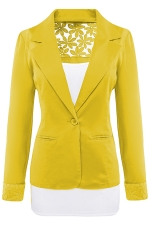 Womens Lace Embroidered One Button Long Sleeve Plain Blazer Yellow