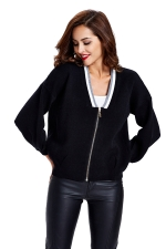 Womens Zip Up Long Sleeve Short Blazer Black
