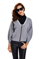 Womens Zip Up Long Sleeve Short Blazer Gray