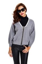 Womens Zip Up Long Sleeve Short Blazer Gray