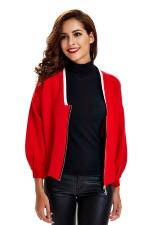 Womens Zip Up Long Sleeve Short Blazer Red