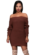 Womens Off Shoulder Ripped Back Long Sleeve Sweater Dress Brown