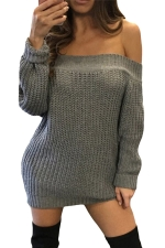 Womens Off Shoulder Ripped Back Long Sleeve Sweater Dress Gray