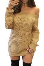 Womens Off Shoulder Ripped Back Long Sleeve Sweater Dress Khaki