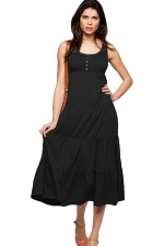 Womens Plain Button Decor Pleated Tank Dress Black