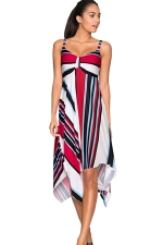 Womens Striped Printed Draped Asymmetric Midi Dress Blue