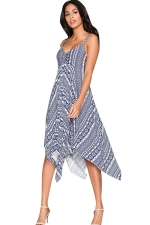 Womens Exotic Printed Draped Asymmetric Midi Dress Sapphire Blue