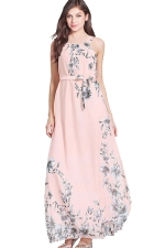 Womens Lace-up Sleeveless Bow Decor Floral Maxi Dress Pink