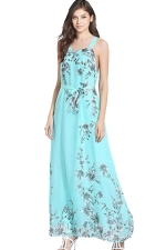 Womens Lace-up Sleeveless Bow Decor Floral Maxi Dress Turquoise