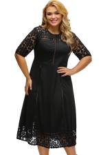 Womens Lace Splice Hollow Out Plus Size Short Sleeve Dress Black