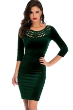 Womens Hollow Out Round Neck Plain Bodycon Dress Green