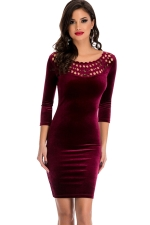 Womens Hollow Out Round Neck Plain Bodycon Dress Ruby