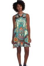 Womens Color Block Exotic Printed Sleeveless Smock Dress Orange