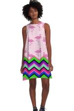 Womens Color Block Flamingo Printed Sleeveless Smock Dress Pink