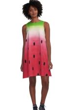 Womens Watermelon Printed Sleeveless Smock Dress Watermelon Red