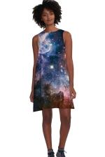 Womens Galaxy Printed Sleeveless Smock Dress Navy Blue