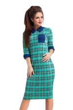 Womens Turndown Collar Half Sleeve Plaid Printed Midi Dress Green