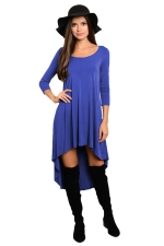 Womens Plain High Low Pleated Long Sleeve Smock Dress Blue