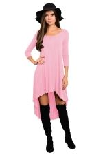 Womens Plain High Low Pleated Long Sleeve Smock Dress Pink
