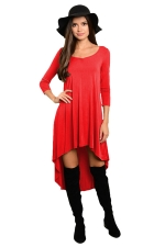 Womens Plain High Low Pleated Long Sleeve Smock Dress Red