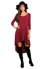 Womens Plain High Low Pleated Long Sleeve Smock Dress Ruby