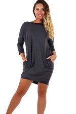 Womens Cross Cut Out Back Long Sleeve Plain Dress Dark Gray