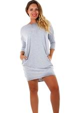 Womens Cross Cut Out Back Long Sleeve Plain Dress Light Gray