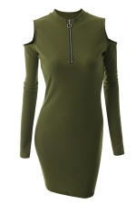 Womens Zipper Cold Shoulder Long Sleeve Plain Bodycon Dress Army Green
