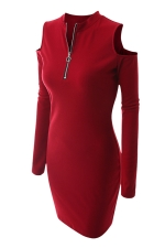 Womens Zipper Cold Shoulder Long Sleeve Plain Bodycon Dress Red