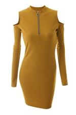 Womens Zipper Cold Shoulder Long Sleeve Plain Bodycon Dress Yellow