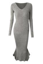 Womens V-neck Long Sleeve Mermaid Bodycon Dress Gray