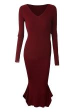 Womens V-neck Long Sleeve Mermaid Bodycon Dress Ruby