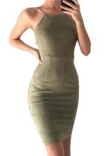 Womens Spaghetti Straps Lace-up Back Plain Bodycon Dress Green