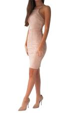Womens Spaghetti Straps Lace-up Back Plain Bodycon Dress Khaki