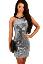 Womens Sequined Sleeveless Clubwear Dress Silvery