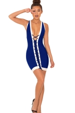 Womens Cross Lace-up Plunging Neck Sleeveless Clubwear Dress Blue