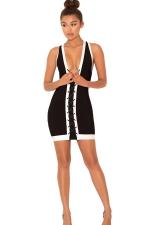 Womens Cross Lace-up Plunging Neck Sleeveless Clubwear Dress Black