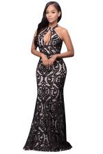 Womens Halter Sleeveless Floral Patterned Maxi Evening Dress Black