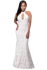 Womens Halter Sleeveless Floral Patterned Maxi Evening Dress White