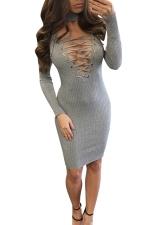 Womens Lace-up V Neck Long Sleeve Midi Clubwear Dress Gray